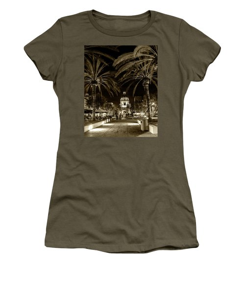 Women's T-Shirt (Junior Cut) featuring the photograph Pasadena City Hall After Dark In Sepia Tone by Randall Nyhof