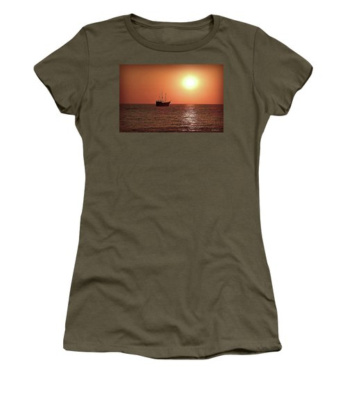 Women's T-Shirt (Junior Cut) featuring the photograph Passing By In Calm Waters by Joan  Minchak