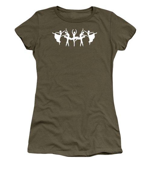 Passionate Dance White Ballerinas Silhouettes Women's T-Shirt