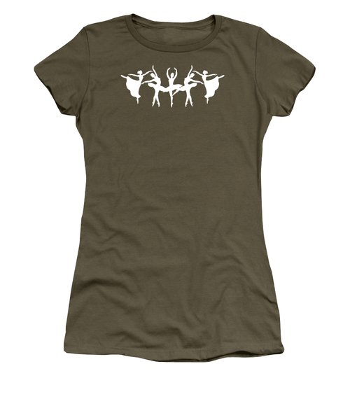 Passionate Dance White Ballerinas Silhouettes Women's T-Shirt (Athletic Fit)