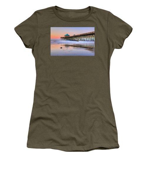 Pastel Sunrise On Folly Beach Pier In Charleston South Carolina Women's T-Shirt