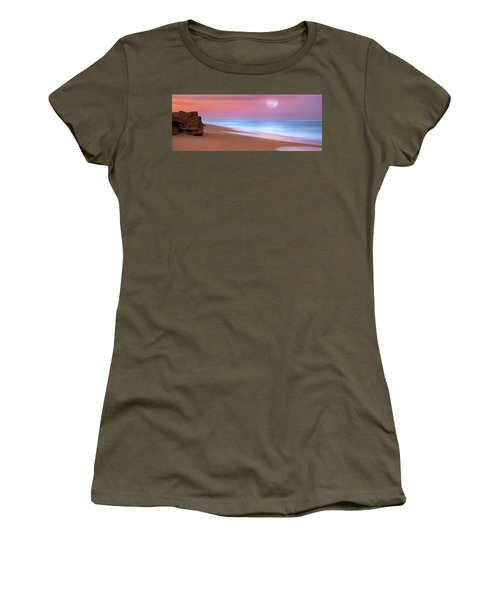 Pastel Sunset And Moonrise Over Hutchinson Island Beach, Florida. Women's T-Shirt (Junior Cut) by Justin Kelefas