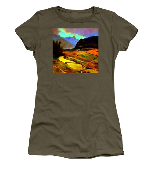 Pasture In The Mountains Women's T-Shirt (Athletic Fit)