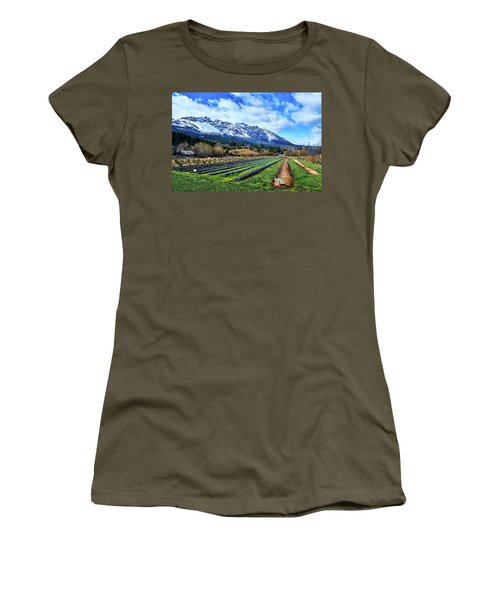 Landscape With Mountains And Farmlands In The Argentine Patagonia Women's T-Shirt