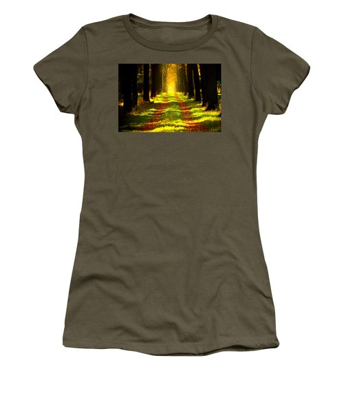 Women's T-Shirt (Athletic Fit) featuring the painting Path In The Forest 715 - Painting by Ericamaxine Price