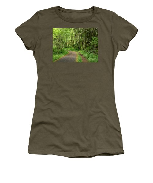 Women's T-Shirt (Athletic Fit) featuring the photograph Path Through The Woods by Jean Noren