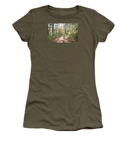 Pathway In The Woods Women's T-Shirt (Junior Cut) by Rena Trepanier