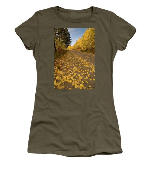 Women's T-Shirt (Junior Cut) featuring the photograph Paved In Gold by Steve Stuller