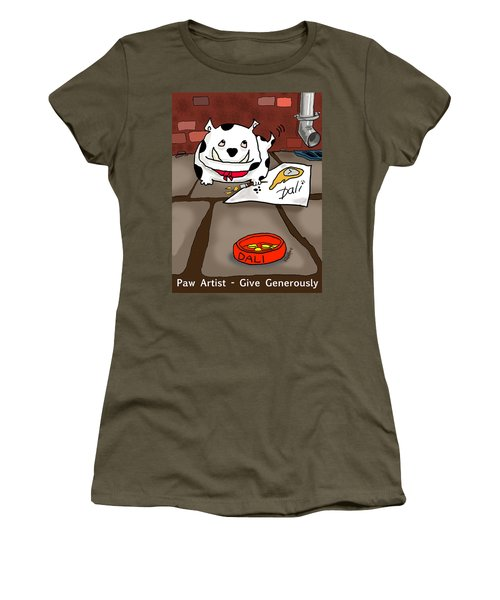 Paw Artist Give Generously Women's T-Shirt (Athletic Fit)