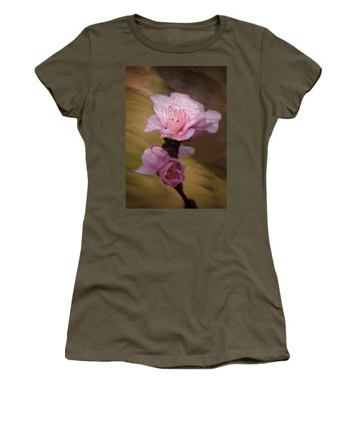 Women's T-Shirt featuring the photograph Peach Blossom Through Glass by David Waldrop