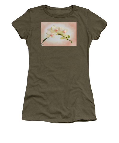 Peach Orchid Spray Women's T-Shirt (Athletic Fit)