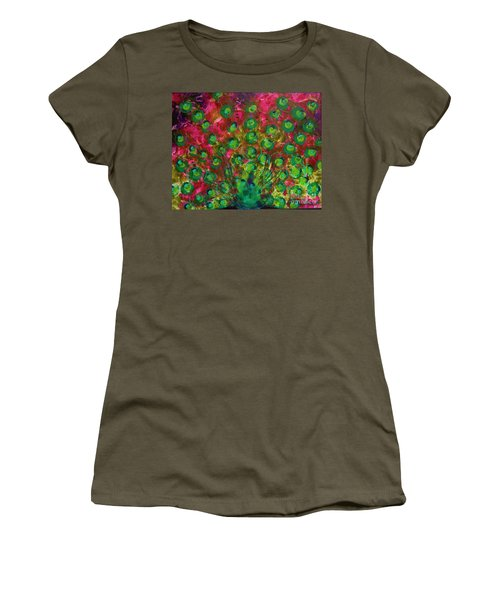 Peacock Impressions Women's T-Shirt (Junior Cut) by Jeanette French