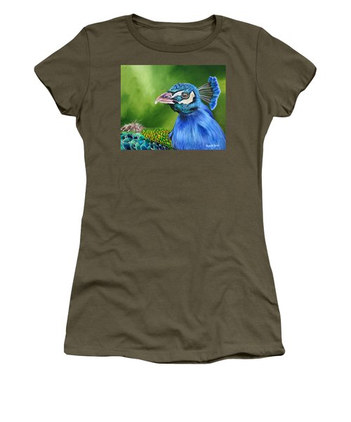 Peacock Profile Women's T-Shirt (Junior Cut) by Phyllis Beiser