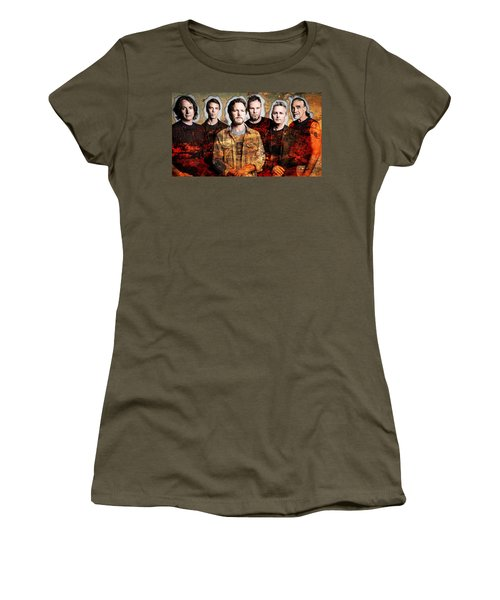 Women's T-Shirt (Junior Cut) featuring the mixed media Pearl Jam by Marvin Blaine