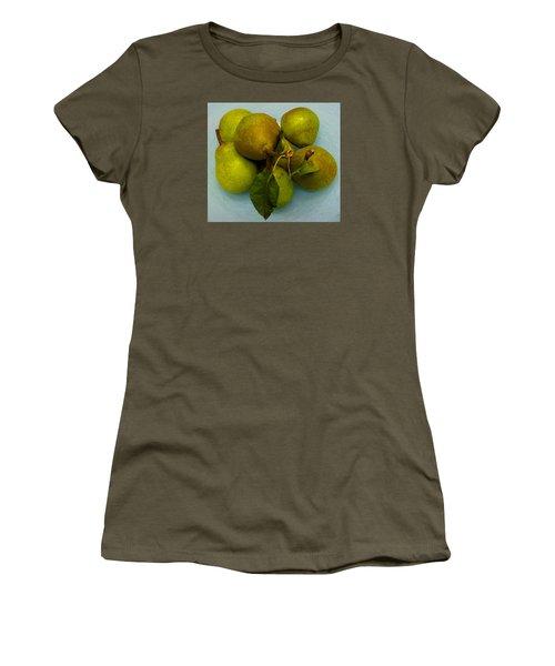 Pears In Blue Bowl Women's T-Shirt (Junior Cut) by Brenda Pressnall