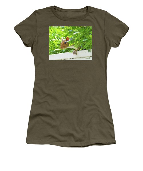 Peek-a-boo Gray Squirrel Women's T-Shirt (Athletic Fit)
