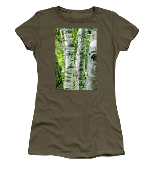Women's T-Shirt (Junior Cut) featuring the photograph Peek A Boo Birch by Greg Fortier
