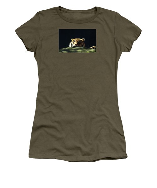 Women's T-Shirt (Athletic Fit) featuring the photograph Peek-a-boo Tiger by Angela DeFrias