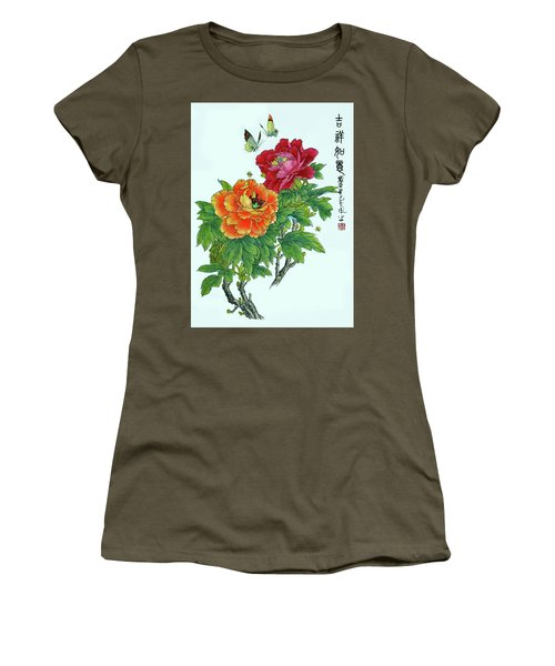 Peonies And Butterflies Women's T-Shirt (Junior Cut) by Yufeng Wang