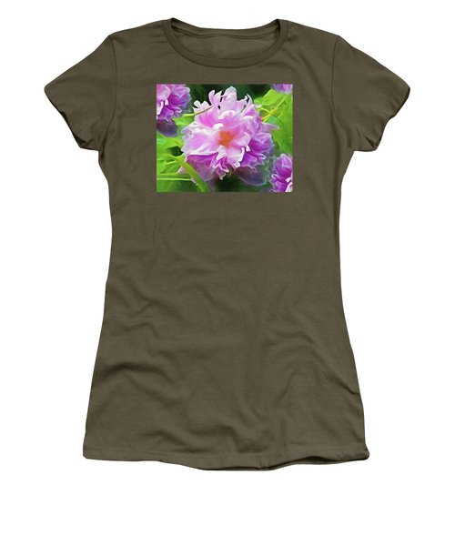 Women's T-Shirt featuring the mixed media Peony Cluster 7 by Lynda Lehmann
