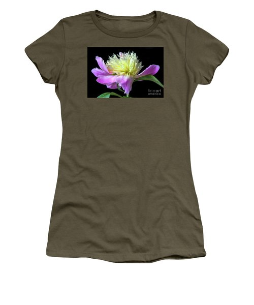 Peony On Black Women's T-Shirt (Athletic Fit)