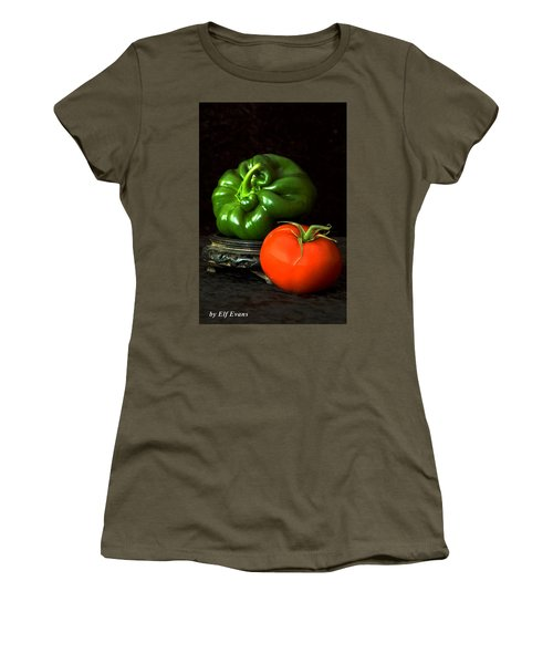 Women's T-Shirt (Athletic Fit) featuring the photograph Pepper And Tomato by Elf Evans