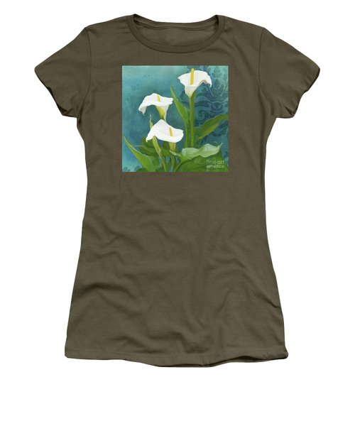 Women's T-Shirt (Athletic Fit) featuring the painting Perfection - Calla Lily Trio by Audrey Jeanne Roberts
