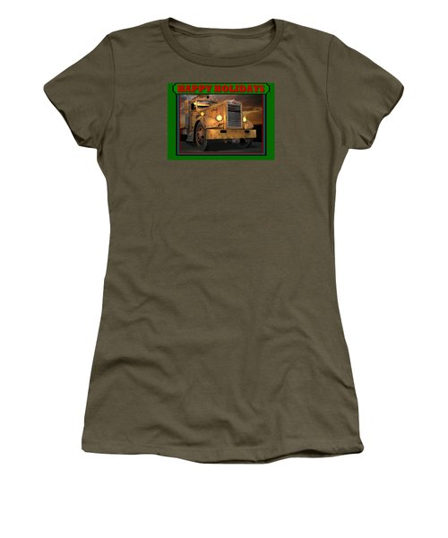 Women's T-Shirt (Junior Cut) featuring the digital art Pete Ol' Yeller Happy Holidays by Stuart Swartz