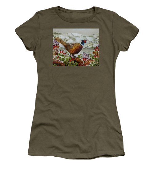 Pheasant And Snowy Hillside Women's T-Shirt (Athletic Fit)