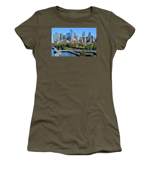 Women's T-Shirt (Junior Cut) featuring the photograph Philly With Walking Trail by Frozen in Time Fine Art Photography