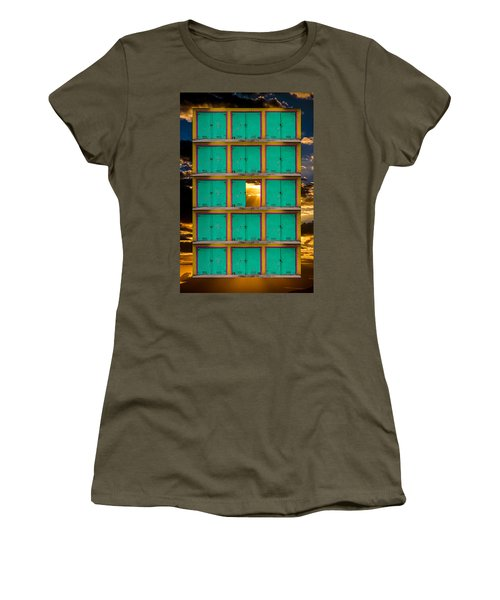 Women's T-Shirt featuring the photograph Pick A Door by Harry Spitz