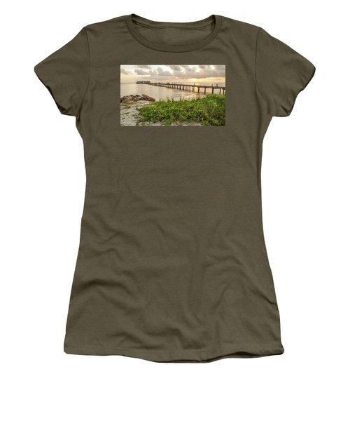 Pier At Sunrise Women's T-Shirt (Athletic Fit)