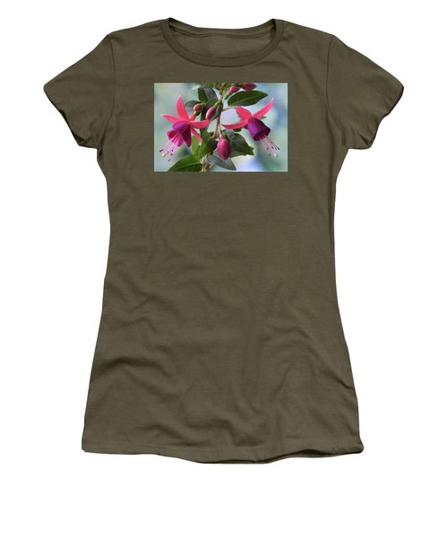 Women's T-Shirt (Junior Cut) featuring the photograph Pink And Purple Fuchsia by Terence Davis