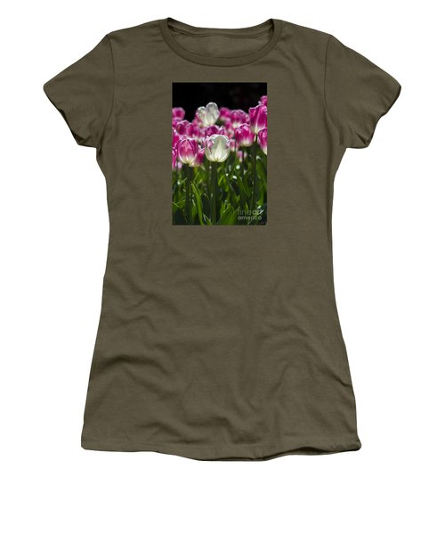 Women's T-Shirt (Athletic Fit) featuring the photograph Pink And White Tulips by Angela DeFrias