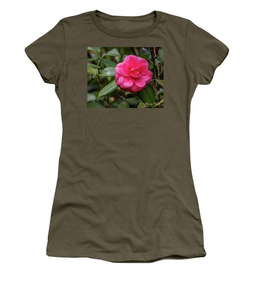 Women's T-Shirt (Junior Cut) featuring the photograph Pink Camelia 02 by Gregory Daley  PPSA