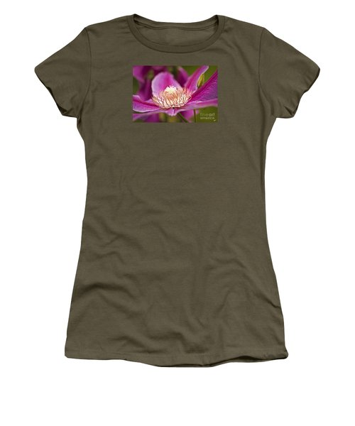 Women's T-Shirt (Junior Cut) featuring the photograph Pink Clematis Flower by Alana Ranney