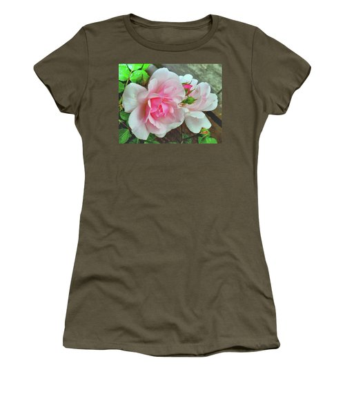 Women's T-Shirt (Junior Cut) featuring the photograph Pink Cluster Of Roses by Janette Boyd