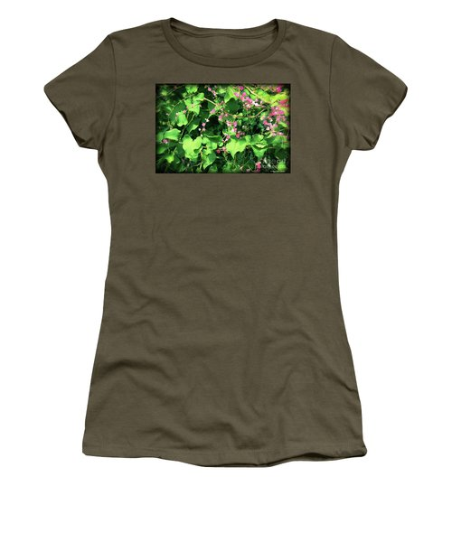 Women's T-Shirt (Athletic Fit) featuring the photograph Pink Flowering Vine2 by Megan Dirsa-DuBois