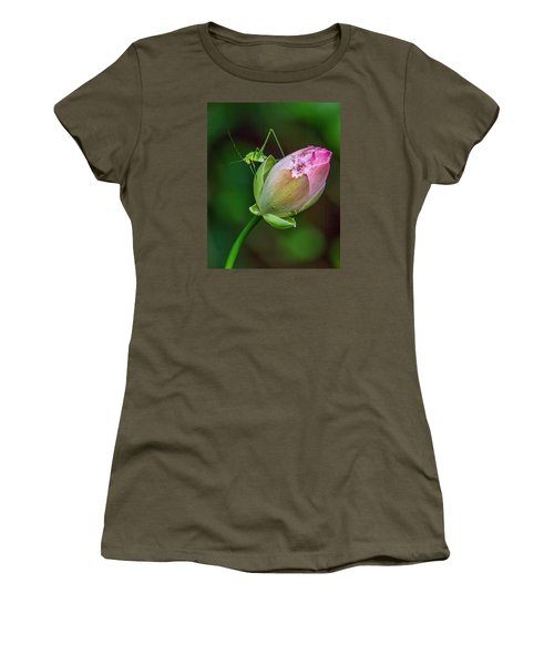 Pink  Lotus With Company Women's T-Shirt (Junior Cut) by Susi Stroud