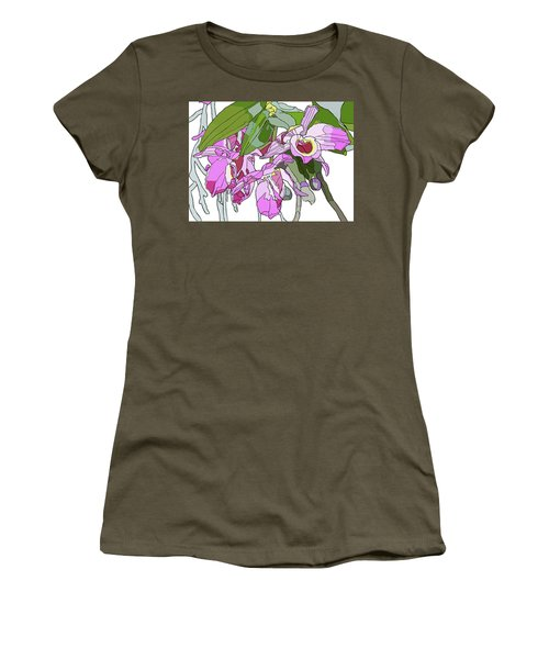 Pink Orchid Bunch Women's T-Shirt (Athletic Fit)