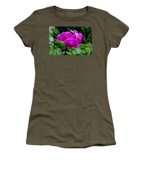 Pink Orchids Women's T-Shirt (Junior Cut) by Mini Arora