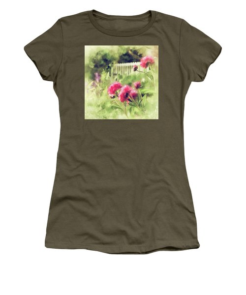 Women's T-Shirt (Athletic Fit) featuring the digital art Pink Peonies In A Vintage Garden by Lois Bryan