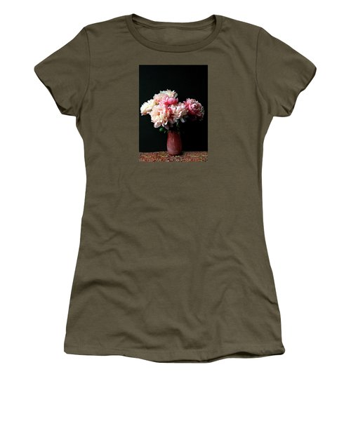 Pink Peonies In Pink Vase Women's T-Shirt (Athletic Fit)