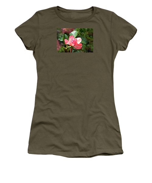 Pink Roses In The Rain 2 Women's T-Shirt (Junior Cut) by Janis Nussbaum Senungetuk