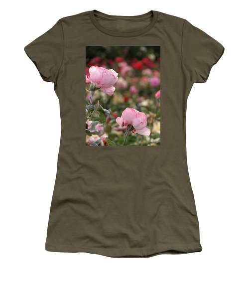 Women's T-Shirt (Junior Cut) featuring the photograph Pink Roses by Laurel Powell