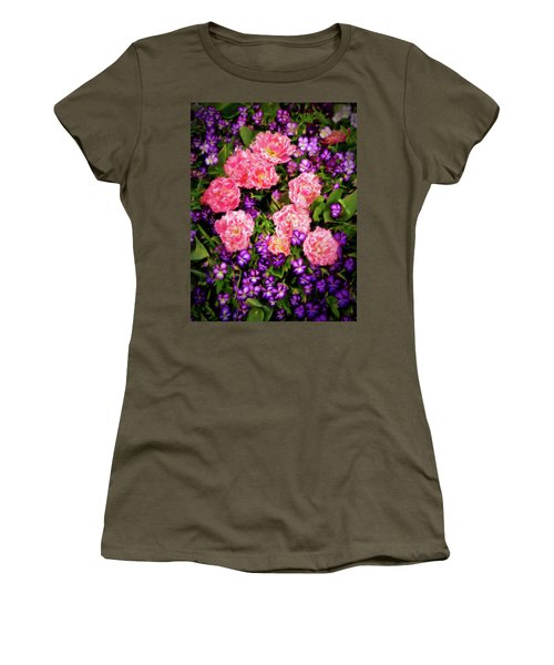 Women's T-Shirt (Junior Cut) featuring the photograph Pink Tulips With Purple Flowers by James Steele