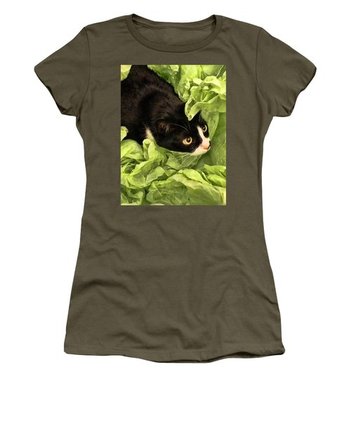 Playful Tuxedo Kitty In Green Tissue Paper Women's T-Shirt (Athletic Fit)