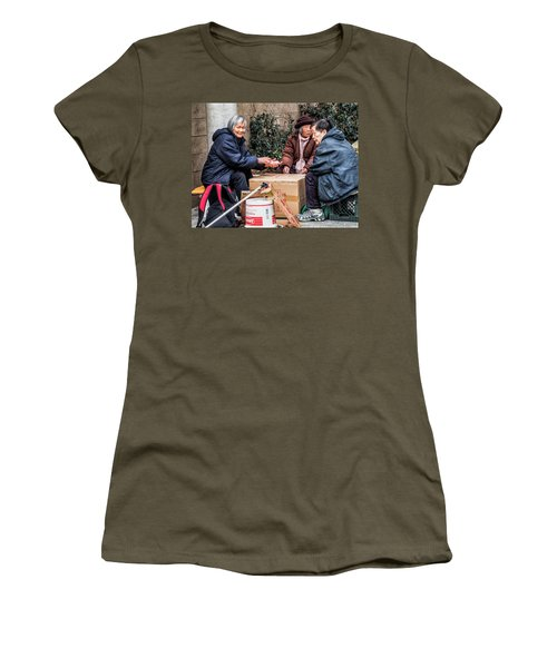 Playing Cards In Chinatown Women's T-Shirt (Athletic Fit)