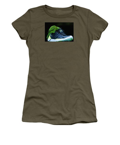 Women's T-Shirt (Junior Cut) featuring the photograph Playing With Dads Shoe 01 by Kevin Chippindall