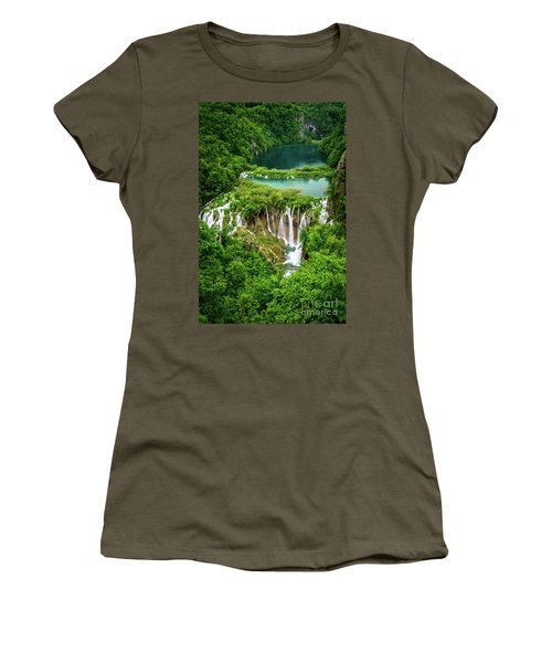 Plitvice Lakes National Park - A Heavenly Crystal Clear Waterfall Vista, Croatia Women's T-Shirt (Athletic Fit)